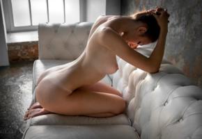 margo amp, brunette, sofa, window