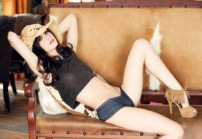 jessica down, model, pretty, stilettos, couch, blue jeans shorts, playmate, cowgirl