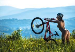 simona zuber, sexy girl, adult model, bike, helmet, ass, butt, buttocks, sunglasses, grass, super body, bicycle