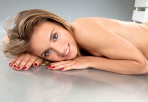 tempe, monika v, model, pretty, blue eyes, smile, sweet, tanned