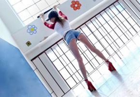 angel smalls, model, actress, slim, leggy, high heels, embellished photo