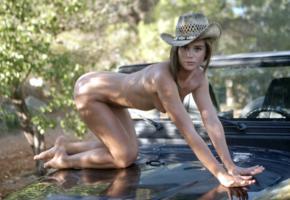 caprice, little caprice, marketa, caprice a, auburn, jeep, naked, tits, puffy nipples, ass, cowboy hat