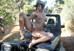 caprice, little caprice, marketa, caprice a, auburn, jeep, naked, tits, puffy nipples, shaved pussy, labia, ass, spread legs, cowboy hat
