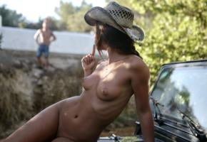 caprice, little caprice, marketa, caprice a, auburn, man, jeep, naked, tits, puffy nipples, shaved pussy, cowboy hat
