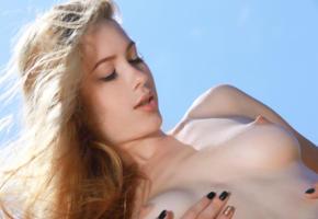 genevieve gandi, blonde, beach, naked, big tits, nipples, hi-q