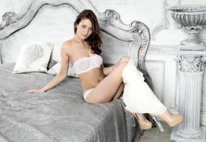 layna, sasha p, model, beautiful babe, lingerie, bra, panties, platform high heels, see through