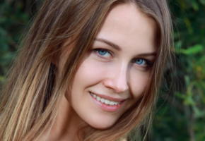 violet, met-art, blue eyes, long hair, smile, mavi