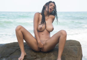 kendra roll, outdoor, nude, boobs, latina, tanned, masturbating, big tits, wet, beach, sea