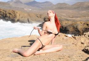 ariel, naked, outdoor, redhead, ariel piper fawn, tits, bikini, sea