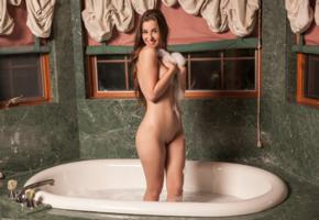 mary jane, sexy girl, adult model, nude, naked, bathroom, bathtub, shaved, smile
