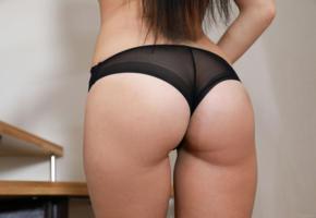 lola marron, malena r, brunette, sexy girl, adult model, ass, butt, buttocks, panties, perfect ass, lingerie series, long hair, black panties