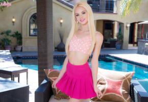 elsa jean, model, actress, pretty, blonde, blue eyes, baby doll, non nude, twistys, pool, skirt