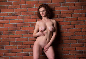 aphrodita, sexy girl, adult model, nude, naked, boobs, big tits, redhead, shaved, navel