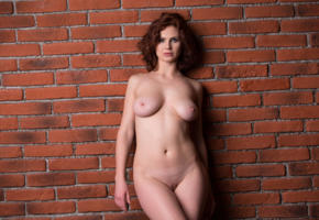 aphrodita, sexy girl, adult model, nude, naked, shaved, boobs, tits, wall, redhead, shaved pussy