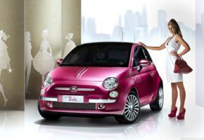model, blonde, car, barbie, fiat 500 barbie concept, fiat 500, fiat, white dress