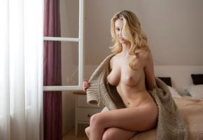 carisha, nude, sexy, blonde, boobs, big tits, bed, smile, candles, sweater