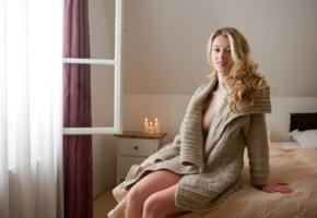 carisha, hello, nude, sexy, blonde, bed, candles, sweater