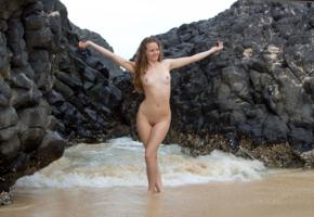 evelyn, sea, brunette, nude, naked, outdoor, beach, pussy, tits, boobs, trimmed