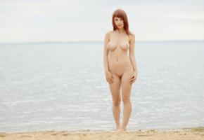 alma, nude, outdoor, beach, pussy, redhead, shaved pussy, adult model, yilka, ylika, rima, perfect tits