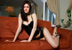 megan elle, brunette, sexy girl, adult model, lingerie, black lingerie, tits, black panties