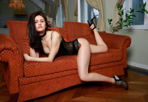 megan elle, brunette, sexy girl, adult model, lingerie, black lingerie, legs, sofa