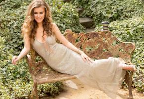 amberleigh west, model, pretty, smile, dress, bench, garden