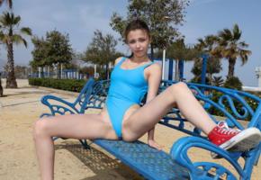 milla, watch4beauty, malaga beach, swimware, palm, tropics, beach, swimsuit, spreading legs