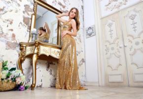 carolina, carolina sampaio, mandy l, gold, gown, hi-q, golden dress, gold dress, mirror, reflection