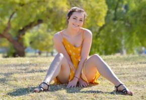 kylie quinn, ftvgirls, fun outdoor, brunette, smile, summer dress