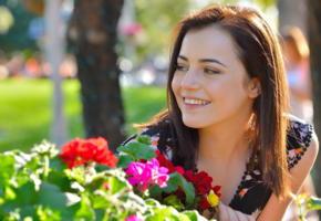kylie quinn, ftvgirls, fun outdoor, brunette, flowers, smile, summer, non nude