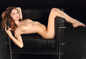 debora a, model, pretty, brunette, braces, armchair, naked, tits