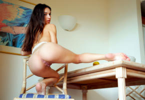 gloria sol, aaliyah, cameron, gloria, penelope y, sofieq, sofiya oleinik, sophie, model, brunette, babe, pussy, labia, anus, ass, bum, table, body to die for, sexy pose