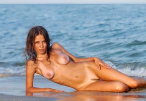 nude, beach, franchesca, boobs, naked, sand, wet, sea, tan lines, wet hair, big tits, zemani