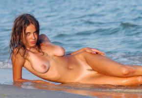 franchesca, nude, nude beach, outdoor, beach, sand, wet, sea, boobs, tan lines, wet hair, big tits, zemani