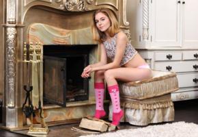shayla, melody y, chloe, model, shirt, panties, pink socks, socks, fireplace, non nude