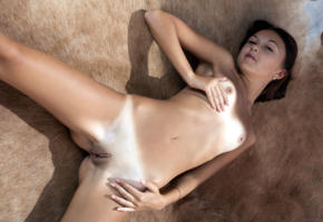 veselin, dikki, brunette, naked, tanlines, small tits, nipples, shaved pussy, labia, ass, spread legs, hi-q