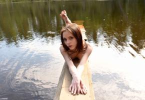 lapa, pala, taressa, model, teen, russian, naked, lake, nature