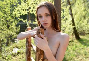 lapa, pala, taressa, model, teen, russian, long hair, big eyes, forest, nature