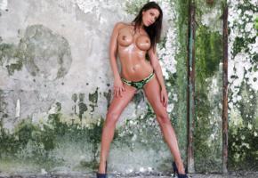 savannah, brunette, bikini, topless, oiled, big tits, nipples, pierced navel, hi-q