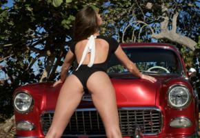 caprice, little caprice, marketa, caprice a, brunette, car, 1955, belair, bodysuit, ass, hi-q