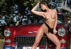 caprice, little caprice, marketa, caprice a, brunette, car, 1955, belair, naked, bodysuit, tits, puffy nipples, shaved pussy, hi-q