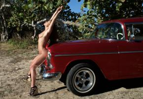 caprice, little caprice, marketa, caprice a, brunette, car, 1955, belair, naked, tits, stretching, hi-q