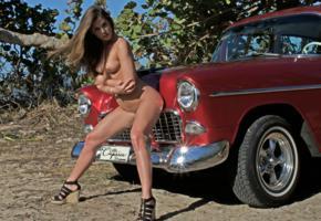 caprice, little caprice, marketa, caprice a, brunette, car, 1955, belair, naked, tits, hi-q