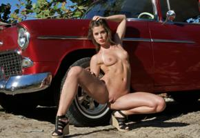 caprice, little caprice, marketa, caprice a, brunette, car, 1955, belair, naked, tits, shaved pussy, labia, ass, spread legs, hi-q