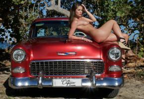 caprice, little caprice, marketa, caprice a, brunette, car, 1955, belair, naked, tits, ass, hi-q