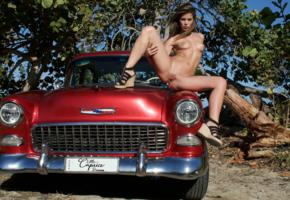 caprice, little caprice, marketa, caprice a, brunette, car, 1955, belair, naked, tits, puffy nipples, shaved pussy, labia, spread legs, hi-q