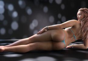 3d, nude, sexy, thong, blonde, ass