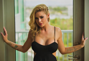 jessa rhodes, adult model, pornstar, blonde, blue eyes, nipples through clothing, cleavage, looking at viewer, tattoo, boobs