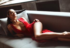 helga lovekaty, sexy, horny, seduce queen, perfect boobs, perfect figure, cleavage, sexy red dress, couch, sofa, red dress, legs, boobs