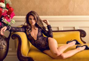 brittany brousseau, model, brunette, pretty, lingerie, black lingerie, sexy legs, hot